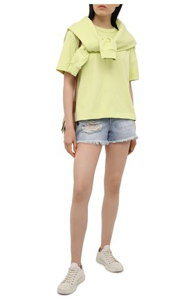 Женская хлопковая футболка ACNE STUDIOS светло-зеленого цвета, арт. AL0149 | Фото 2