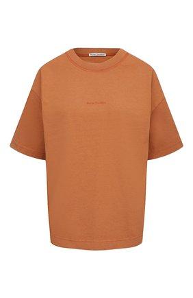 Женская хлопковая футболка ACNE STUDIOS оранжевого цвета, арт. AL0149 | Фото 1