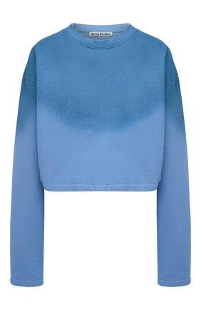 Женский хлопковый свитшот ACNE STUDIOS голубого цвета, арт. AI0085 | Фото 1