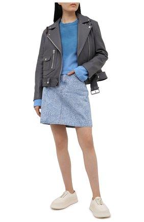 Женский хлопковый свитшот ACNE STUDIOS голубого цвета, арт. AI0085 | Фото 2