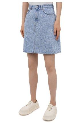 Женская джинсовая юбка ACNE STUDIOS голубого цвета, арт. AF0189 | Фото 3