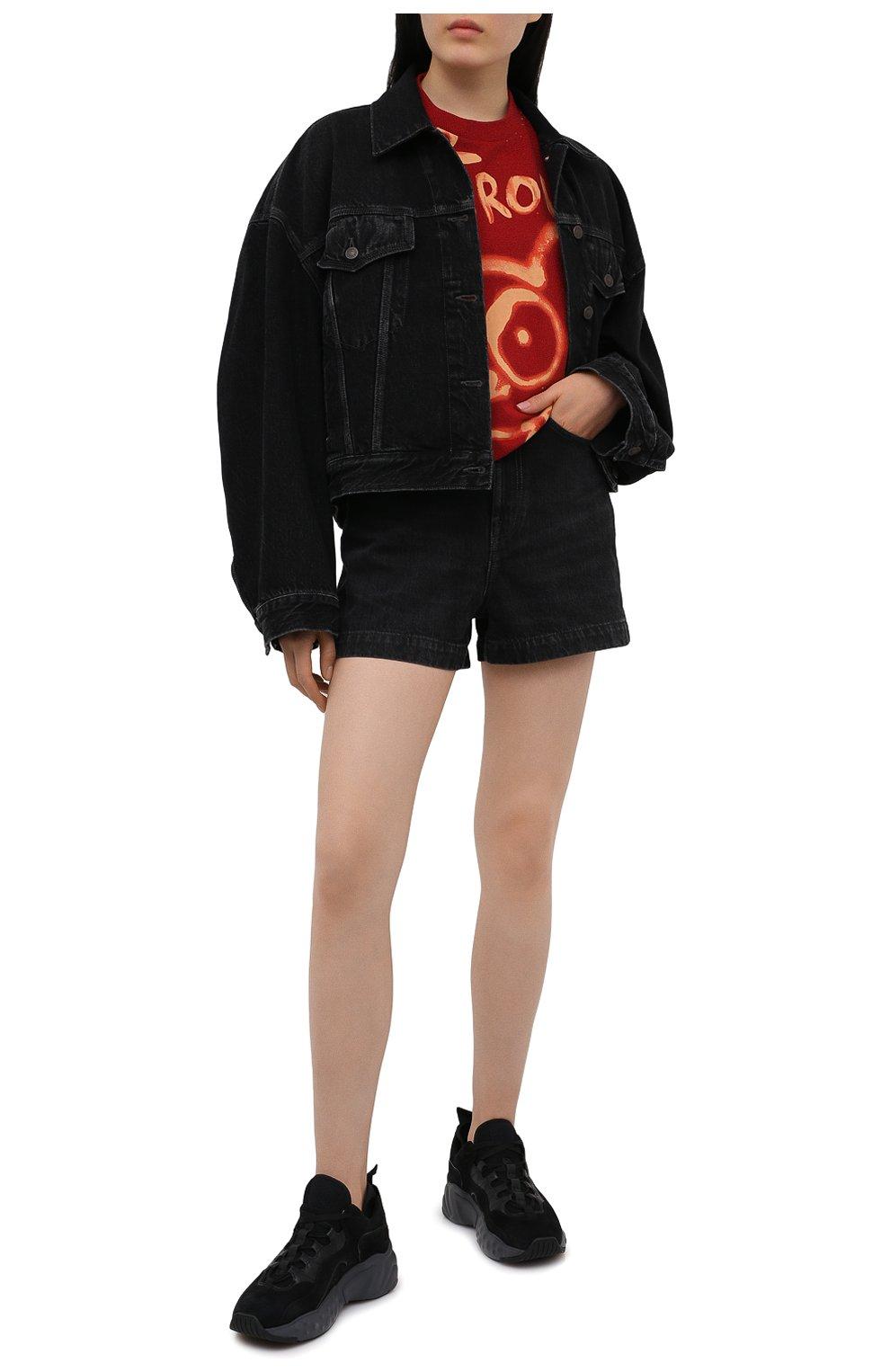 Женские джинсовые шорты ACNE STUDIOS черного цвета, арт. AE0040 | Фото 2 (Женское Кросс-КТ: Шорты-одежда; Кросс-КТ: Деним; Длина Ж (юбки, платья, шорты): Мини; Материал внешний: Хлопок; Стили: Кэжуэл)