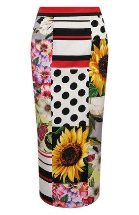 Женская шелковая юбка DOLCE & GABBANA разноцветного цвета, арт. F4B1ZT/GDX64 | Фото 1