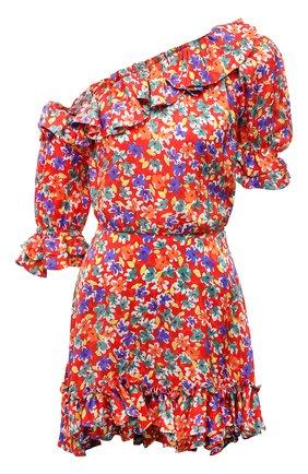 Женское шелковое платье SAINT LAURENT красного цвета, арт. 646246/Y5C61 | Фото 1