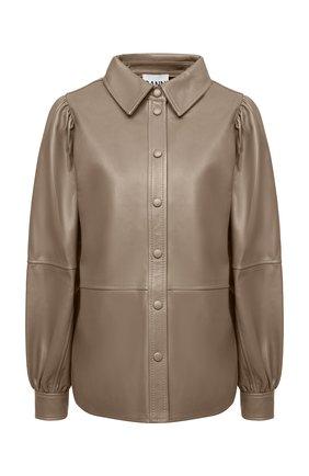 Женская кожаная рубашка GANNI коричневого цвета, арт. F5896 | Фото 1