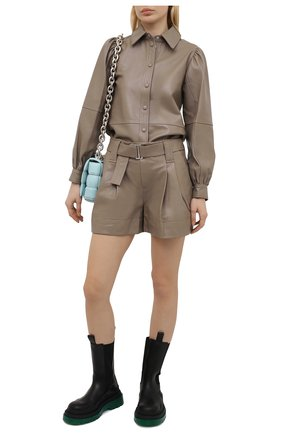 Женская кожаная рубашка GANNI коричневого цвета, арт. F5896 | Фото 2