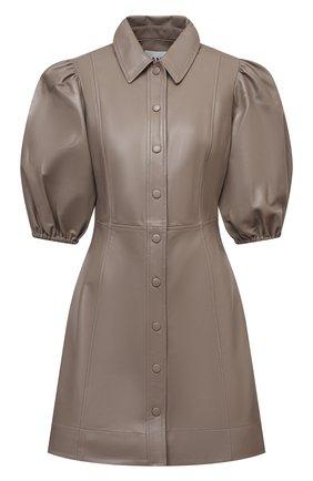 Женское кожаное платье GANNI коричневого цвета, арт. F5897 | Фото 1
