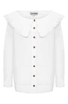 Женская хлопковая блузка GANNI белого цвета, арт. F5822 | Фото 1