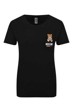 Женская хлопковая футболка MOSCHINO UNDERWEAR WOMAN черного цвета, арт. A1912/9021 | Фото 1