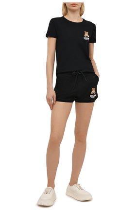 Женская хлопковая футболка MOSCHINO UNDERWEAR WOMAN черного цвета, арт. A1912/9021 | Фото 2