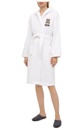 Женский хлопковый халат MOSCHINO UNDERWEAR WOMAN белого цвета, арт. A7301/9040 | Фото 2
