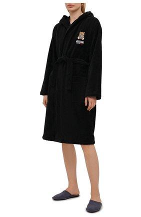 Женский хлопковый халат MOSCHINO UNDERWEAR WOMAN черного цвета, арт. A7301/9040 | Фото 2
