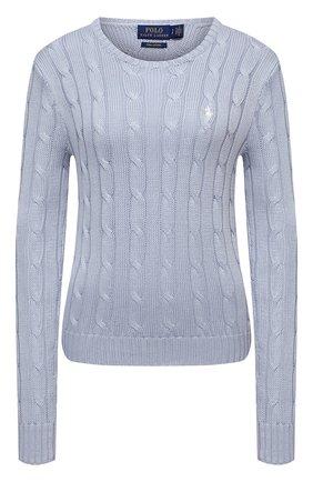 Женский хлопковый пуловер POLO RALPH LAUREN голубого цвета, арт. 211580009   Фото 1