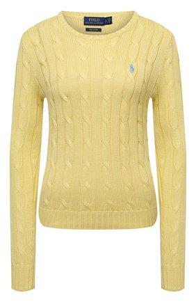 Женский хлопковый пуловер POLO RALPH LAUREN желтого цвета, арт. 211580009 | Фото 1