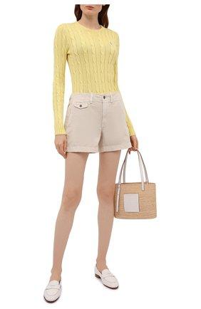 Женский хлопковый пуловер POLO RALPH LAUREN желтого цвета, арт. 211580009 | Фото 2
