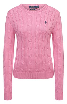 Женский хлопковый пуловер POLO RALPH LAUREN розового цвета, арт. 211580009   Фото 1