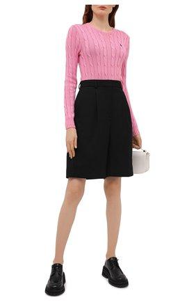 Женский хлопковый пуловер POLO RALPH LAUREN розового цвета, арт. 211580009   Фото 2