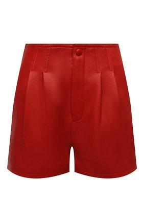 Женские кожаные шорты SAINT LAURENT красного цвета, арт. 648333/Y50A2 | Фото 1