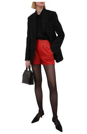Женские кожаные шорты SAINT LAURENT красного цвета, арт. 648333/Y50A2 | Фото 2