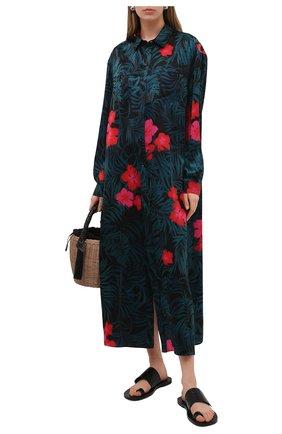 Женская шелковая туника SAINT LAURENT разноцветного цвета, арт. 642423/Y2C59   Фото 2 (Рукава: Длинные; Женское Кросс-КТ: Туника-одежда, Туника-пляжная одежда; Стили: Романтичный; Материал внешний: Шелк; Длина Ж (юбки, платья, шорты): Миди)