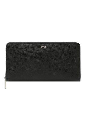 Мужской кожаное портмоне BOSS черного цвета, арт. 50452057 | Фото 1