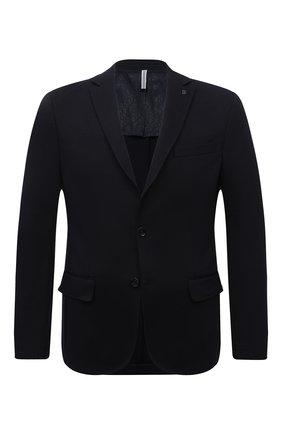 Мужской пиджак BOGNER темно-синего цвета, арт. 38716619 | Фото 1 (Случай: Коктейльный; 1-2-бортные: Однобортные; Стили: Классический; Рукава: Длинные; Длина (для топов): Стандартные; Пиджаки М: Приталенный; Материал внешний: Синтетический материал)