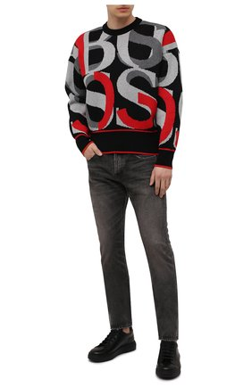 Мужской хлопковый свитер BOSS разноцветного цвета, арт. 50450032 | Фото 2