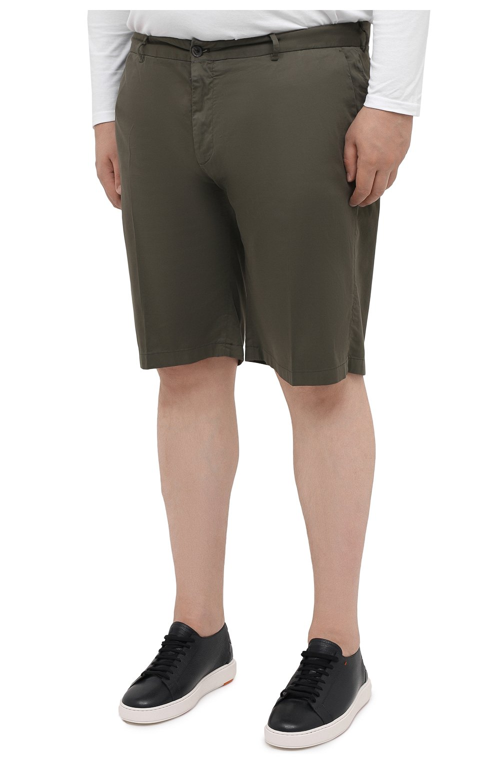 Мужские шорты из хлопка и шелка PAUL&SHARK хаки цвета, арт. 21414116/FIZ/62-64 | Фото 3