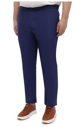 Мужские кашемировые брюки MARCO PESCAROLO синего цвета, арт. CHIAIAM/4334   Фото 3 (Big sizes: Big Sizes; Материал внешний: Шерсть, Кашемир; Длина (брюки, джинсы): Стандартные; Случай: Повседневный; Стили: Кэжуэл)
