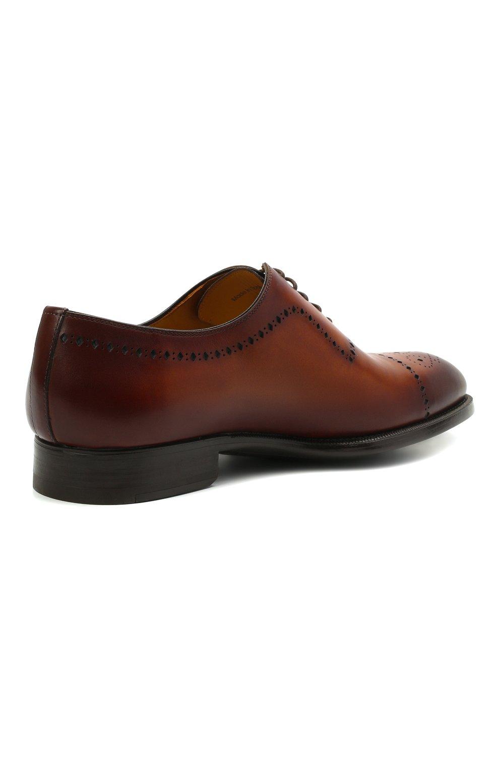 Мужские кожаные оксфорды MAGNANNI светло-коричневого цвета, арт. 18265/WIND   Фото 4 (Мужское Кросс-КТ: Броги-обувь; Материал внутренний: Натуральная кожа; Стили: Классический)
