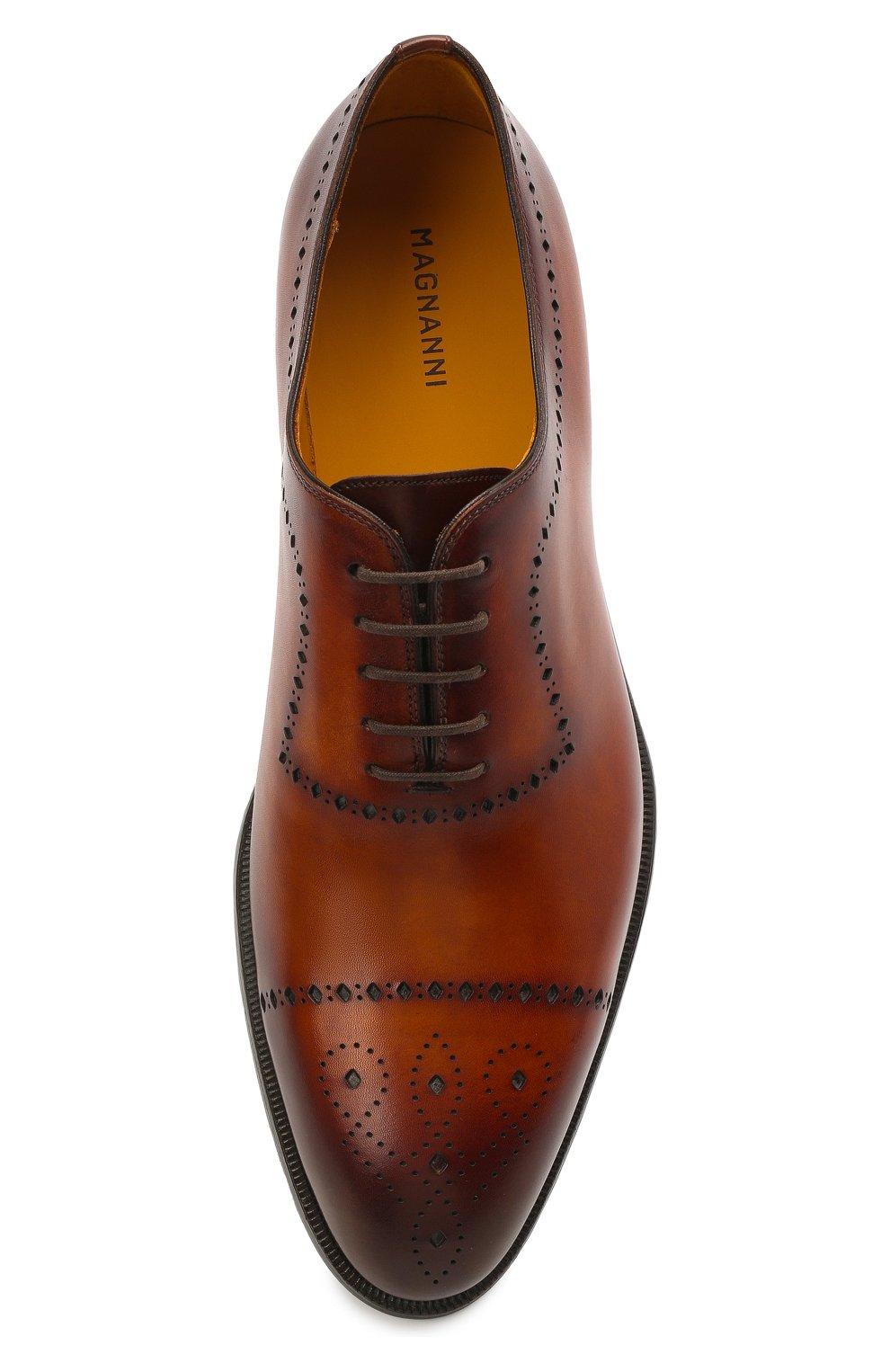 Мужские кожаные оксфорды MAGNANNI светло-коричневого цвета, арт. 18265/WIND   Фото 5 (Мужское Кросс-КТ: Броги-обувь; Материал внутренний: Натуральная кожа; Стили: Классический)