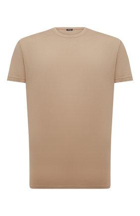 Мужская футболка из хлопка и кашемира KITON коричневого цвета, арт. UMK0029 | Фото 1