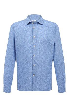 Мужская льняная рубашка KITON синего цвета, арт. UMCNERH0768507 | Фото 1