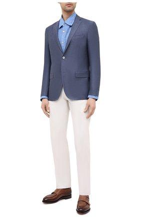 Мужская льняная рубашка KITON синего цвета, арт. UMCNERH0768507 | Фото 2