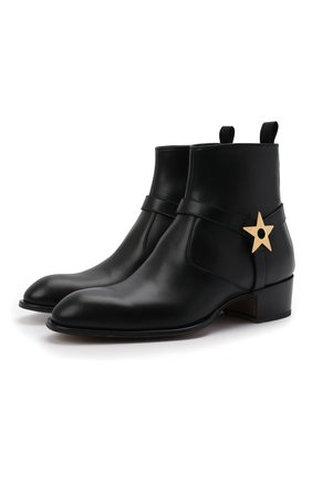 Мужские кожаные сапоги sheldon star GIUSEPPE ZANOTTI DESIGN черного цвета, арт. EU10011/001 | Фото 1 (Мужское Кросс-КТ: Сапоги-обувь, Казаки-обувь; Каблук высота: Высокий; Материал внутренний: Натуральная кожа; Подошва: Плоская)