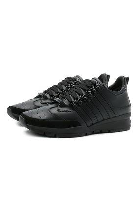 Мужские кожаные кроссовки 251 DSQUARED2 черного цвета, арт. SNM0146 01500001 | Фото 1