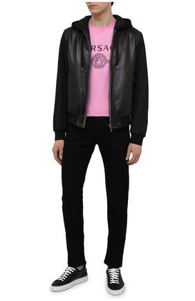 Мужские кожаные кеды san diego DSQUARED2 черного цвета, арт. SNM0167 01504119 | Фото 2 (Материал внутренний: Натуральная кожа; Подошва: Массивная)