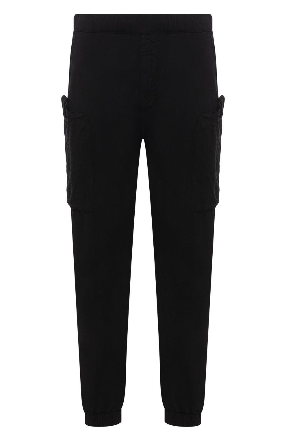 Мужские джоггеры ASPESI черного цвета, арт. S1 A CP19 G435   Фото 1 (Длина (брюки, джинсы): Стандартные; Материал внешний: Синтетический материал; Стили: Гранж; Силуэт М (брюки): Джоггеры)