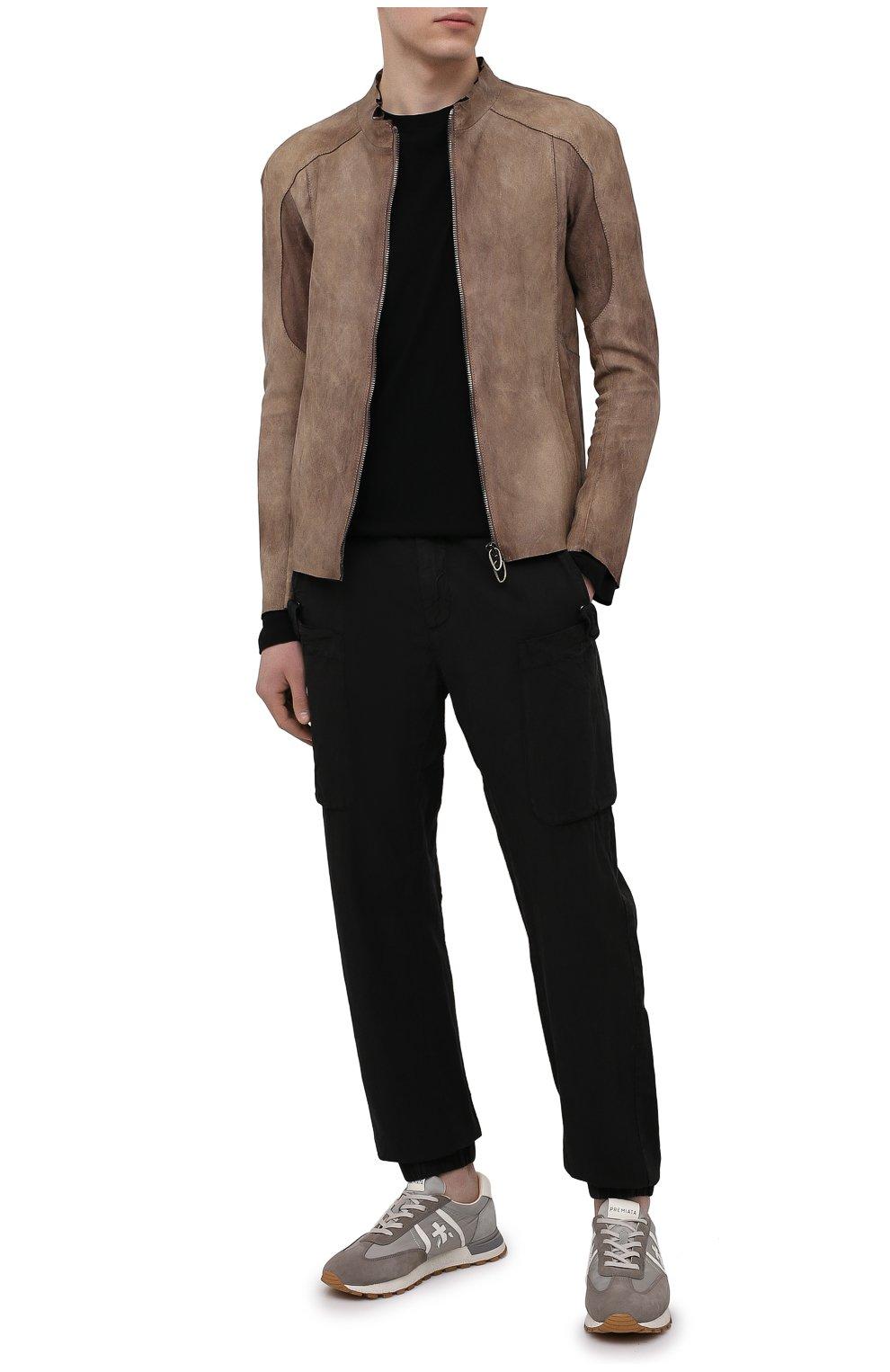 Мужские джоггеры ASPESI черного цвета, арт. S1 A CP19 G435   Фото 2 (Длина (брюки, джинсы): Стандартные; Материал внешний: Синтетический материал; Стили: Гранж; Силуэт М (брюки): Джоггеры)