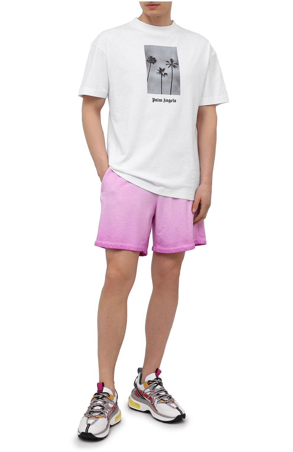 Мужские хлопковые шорты OPENING CEREMONY розового цвета, арт. YMCI001S21FLE001 | Фото 2 (Длина Шорты М: До колена; Принт: Без принта; Кросс-КТ: Трикотаж; Материал внешний: Хлопок; Стили: Спорт-шик)