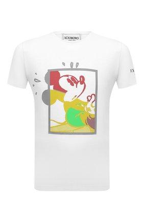 Мужская хлопковая футболка ICEBERG белого цвета, арт. 21E I1P0/F01A/6304 | Фото 1 (Длина (для топов): Стандартные; Материал внешний: Хлопок; Принт: С принтом; Рукава: Короткие; Стили: Гранж)