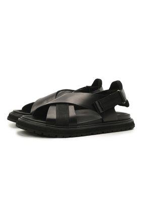 Мужские кожаные сандалии PREMIATA черного цвета, арт. 31866/LISCI0 | Фото 1 (Материал внутренний: Натуральная кожа)