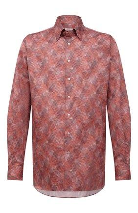 Мужская хлопковая рубашка ZILLI красного цвета, арт. MFV-3411-2142/ZS152/45-49 | Фото 1 (Стили: Классический; Воротник: Кент; Рубашки М: Regular Fit; Принт: С принтом; Манжеты: На пуговицах; Рукава: Длинные; Big sizes: Big Sizes; Материал внешний: Хлопок; Случай: Повседневный; Длина (для топов): Удлиненные)