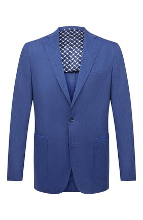 Мужской пиджак из шерсти и льна ZILLI темно-синего цвета, арт. MNV-ECKX-2-E6031/0001 | Фото 1