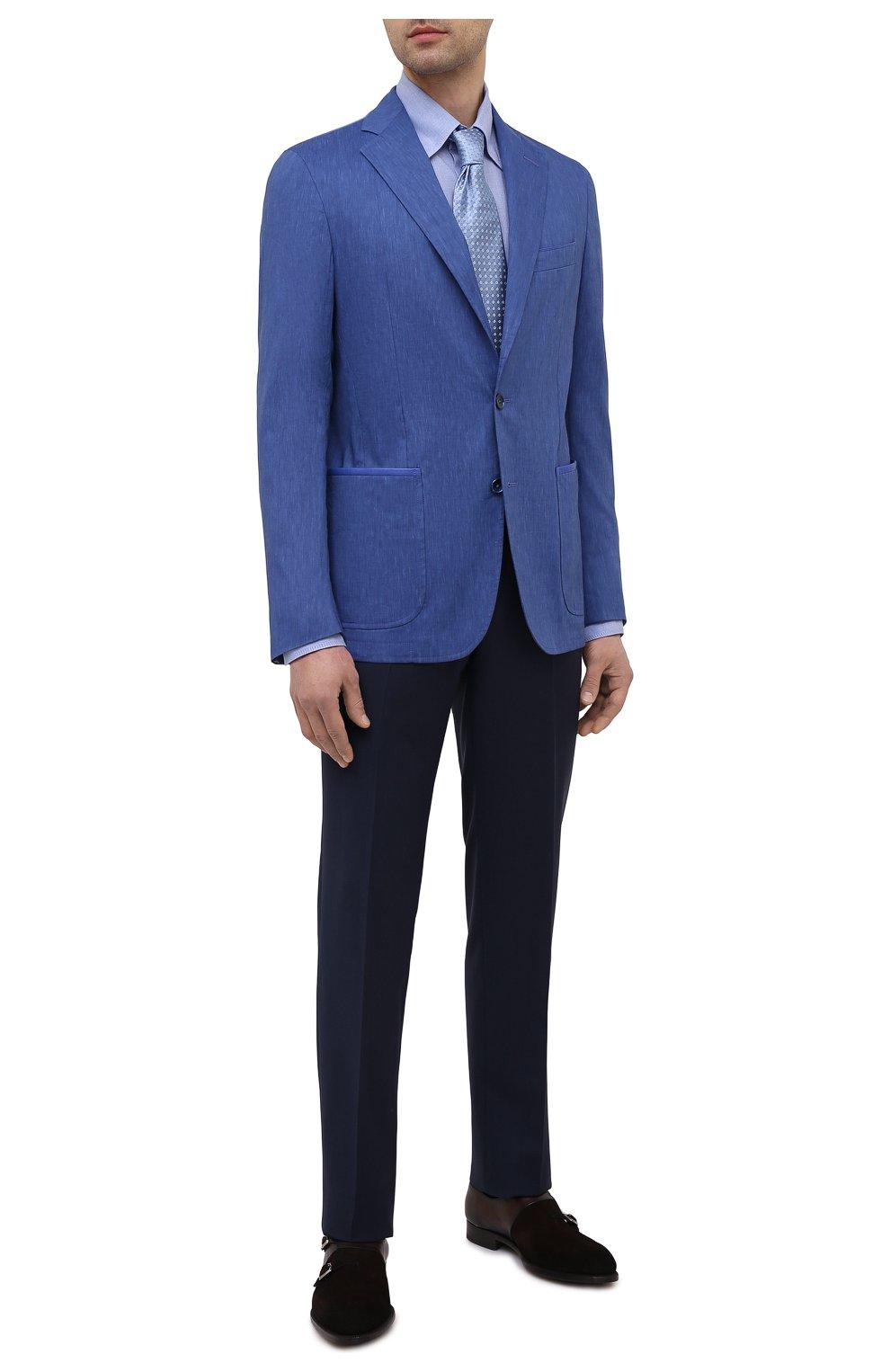 Мужской пиджак из шерсти и льна ZILLI темно-синего цвета, арт. MNV-ECKX-2-E6031/0001 | Фото 2