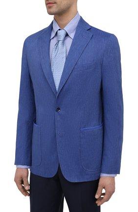 Мужской пиджак из шерсти и льна ZILLI темно-синего цвета, арт. MNV-ECKX-2-E6031/0001 | Фото 3
