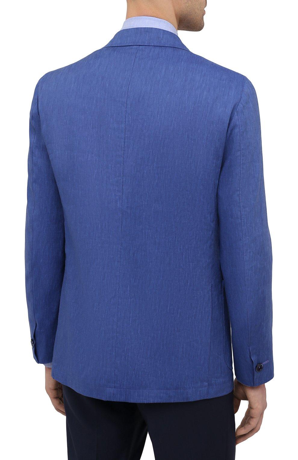 Мужской пиджак из шерсти и льна ZILLI темно-синего цвета, арт. MNV-ECKX-2-E6031/0001 | Фото 4
