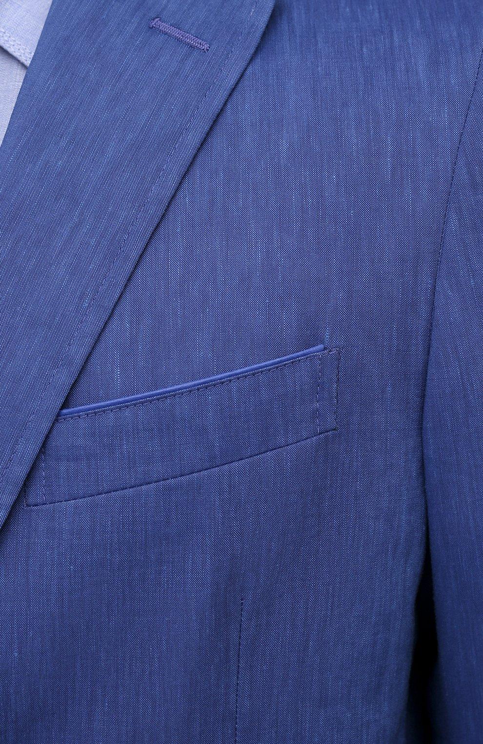 Мужской пиджак из шерсти и льна ZILLI темно-синего цвета, арт. MNV-ECKX-2-E6031/0001 | Фото 5