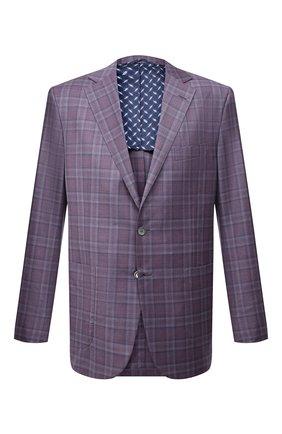 Мужской шерстяной пиджак ZILLI фиолетового цвета, арт. MNV-P1241-45111/0001 | Фото 1 (Рукава: Длинные; Стили: Классический; Случай: Формальный; Пиджаки М: Прямой; Материал подклада: Купро; Материал внешний: Шерсть; Длина (для топов): Стандартные; 1-2-бортные: Однобортные)