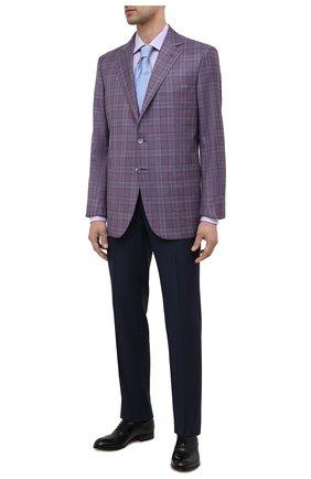 Мужской шерстяной пиджак ZILLI фиолетового цвета, арт. MNV-P1241-45111/0001 | Фото 2 (Рукава: Длинные; Стили: Классический; Случай: Формальный; Пиджаки М: Прямой; Материал подклада: Купро; Материал внешний: Шерсть; Длина (для топов): Стандартные; 1-2-бортные: Однобортные)